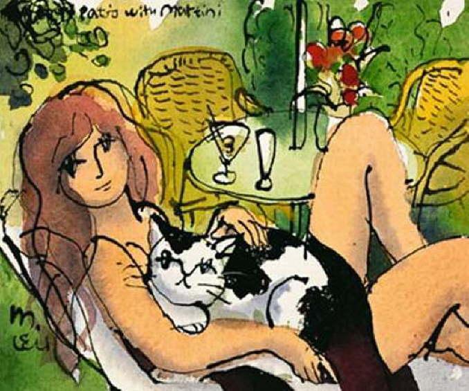 Женщина с кошкой читают Превера