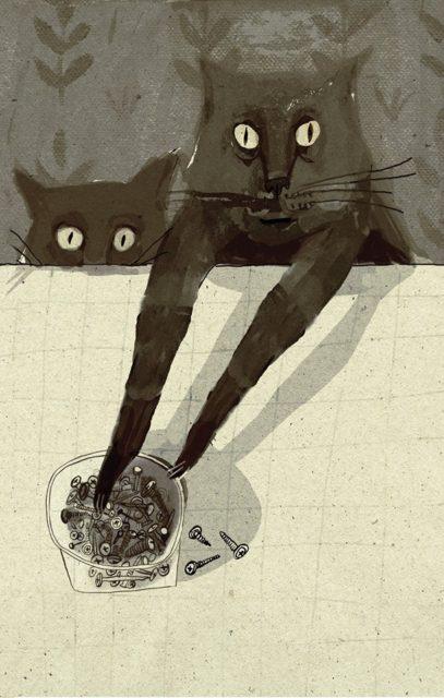 кот и гвозди